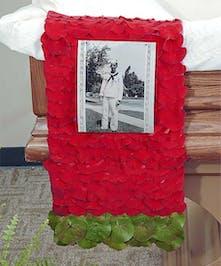 Reverent Roses casket scarf delivered in Baton Rouge, LA.