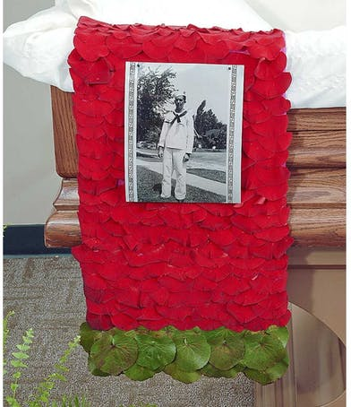 Reverent Roses casket scarf delivered in Baton Rouge, LA.