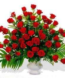 Reverent Roses urn arrangement delivered in Baton Rouge, LA.