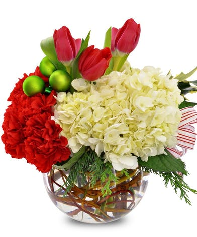 Carnations Hydrangeas Tulips Holiday Bubble Bowl Arrangement delivered Baton Rouge LA