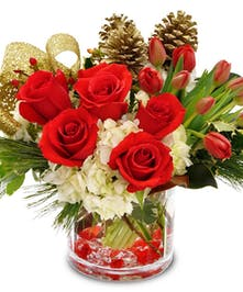 Tulips Roses Hydrangeas Christmas Greenery Gold Accents Bouquet delivered Baton Rouge LA