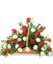 rose and carnation fireside flowerbasket funeral design delivered baton rouge la