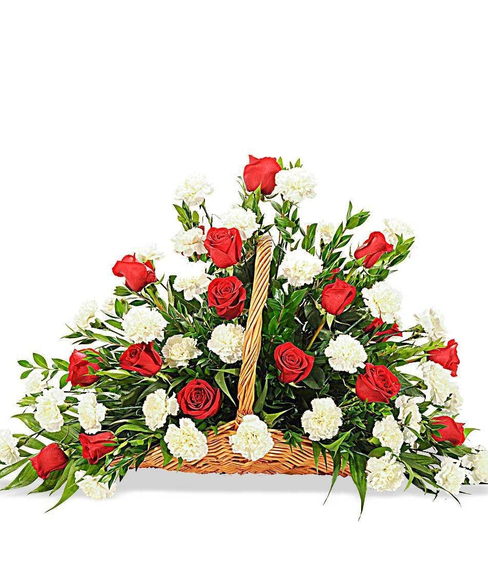 Rose and carnation fireside flower basket delivered in baton rouge rose and carnation fireside flowerbasket funeral design delivered baton rouge la izmirmasajfo Image collections