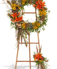 The Woodlands wreath stand delivered in Baton Rouge, LA.