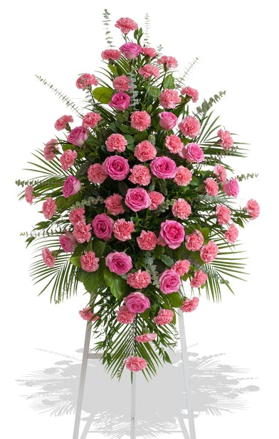 Traditional Standing Spray made of Roses and Carnations colors of your choice delivered baton rouge LA