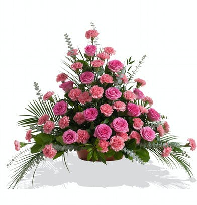 Floor Piece Arrangement for the Service in Your Color Choice Roses and Carnations
