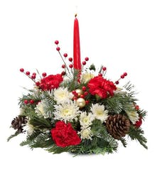 Small Roung red and white holiday table centerpiece delivered baton rouge LA