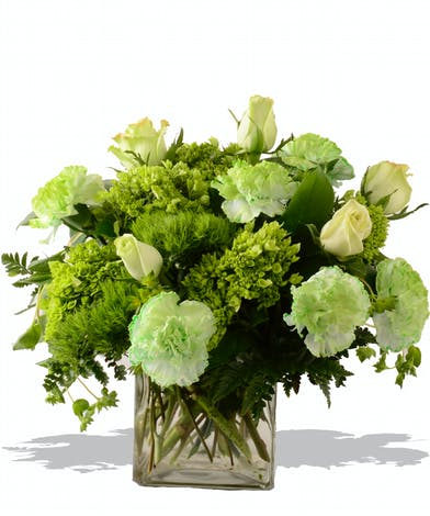 Green and white cube arrangement for st patricks day delivered baton rouge la