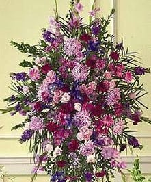 purple mixed flowers funeral stand baton rouge LA