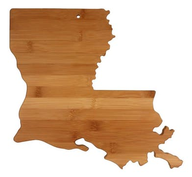 Totally Bamboo Louisiana State Shape Cutting board delivered in Baton Rouge LA