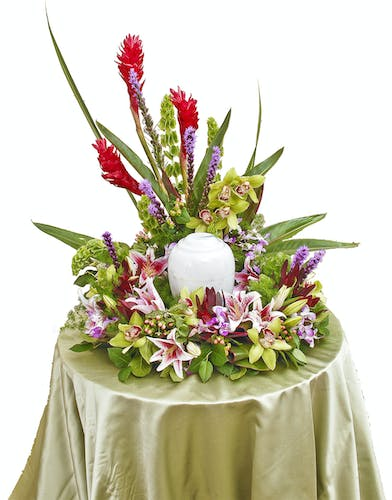 Tropical Paradise urn wreath delivered in Baton Rouge, LA.