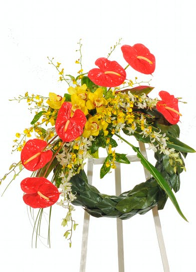 Tropical Paradise wreath stand delivered in Baton Rouge, LA.