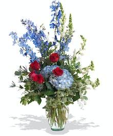 Patriotic vase arrangement delivered in Baton Rouge, LA.