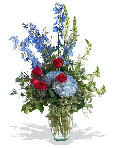 Patriotic vase arrangement delivered in Baton Rouge, LA.
