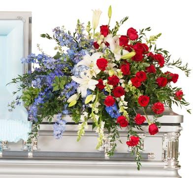 Patriotic casket cover delivered in Baton Rouge, LA.