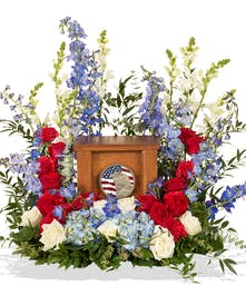 Patriotic cremation urn wreath delivered in Baton Rouge, LA.