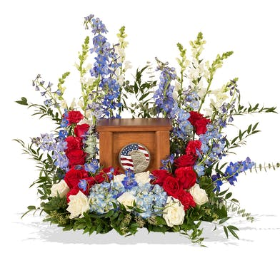 Patriotic cremation urn wreath delivered in Baton Rouge, LA.
