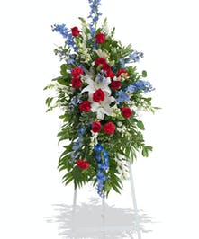 Patriotic stand arrangement delivered in Baton Rouge, LA.