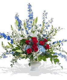 Patriotic urn arrangement delivered in Baton Rouge, LA.