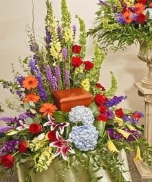 Vivid beauty urn wreath delivered in Baton Rouge, LA.