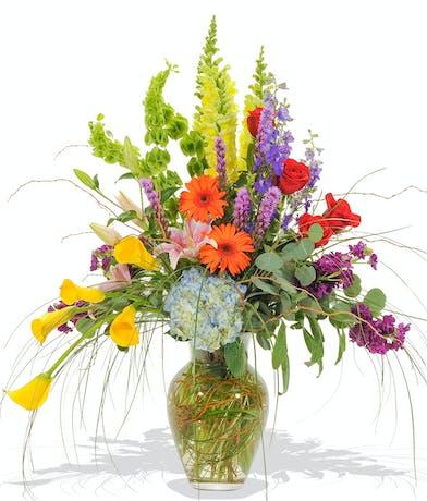 Vivid beauty vase arrangement delivered in Baton Rouge, LA.
