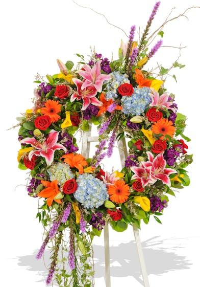 Vivid beauty wreath arrangement delivered in Baton Rouge, LA.