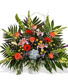 VIVID FLOWERS FUNERAL BASKET DELIVERED IN BATON ROUGE LA
