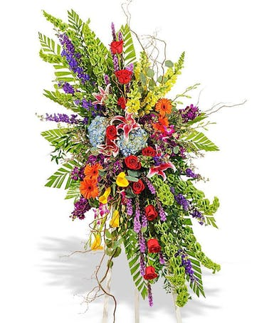 vivid beauty sympathy standing spray bright flowers delivered baton rouge la