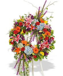 vivid beauty standing spray wreath delivered baton rouge la