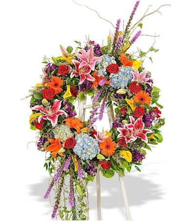 vivid beauty standing spray wreath delivered baton rouge la