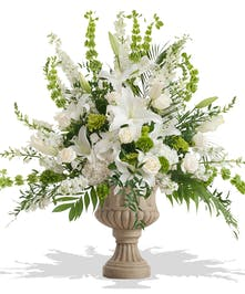 White and Green Flowers in Funeral Urn delivered in Baton Rouge