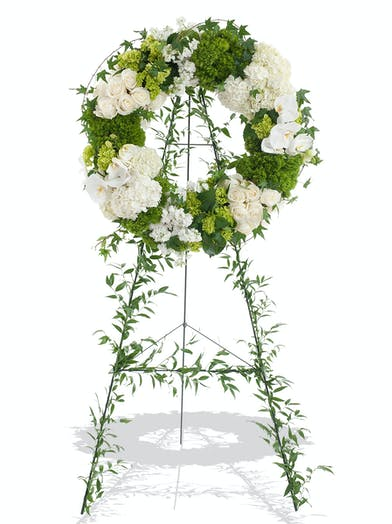 Elegant White and Green Standing Wreath for Funeral delivered in Baton Rouge LA
