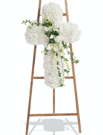 Standing Funeral cross made of white and green flowers delivered in Baton Rouge LA