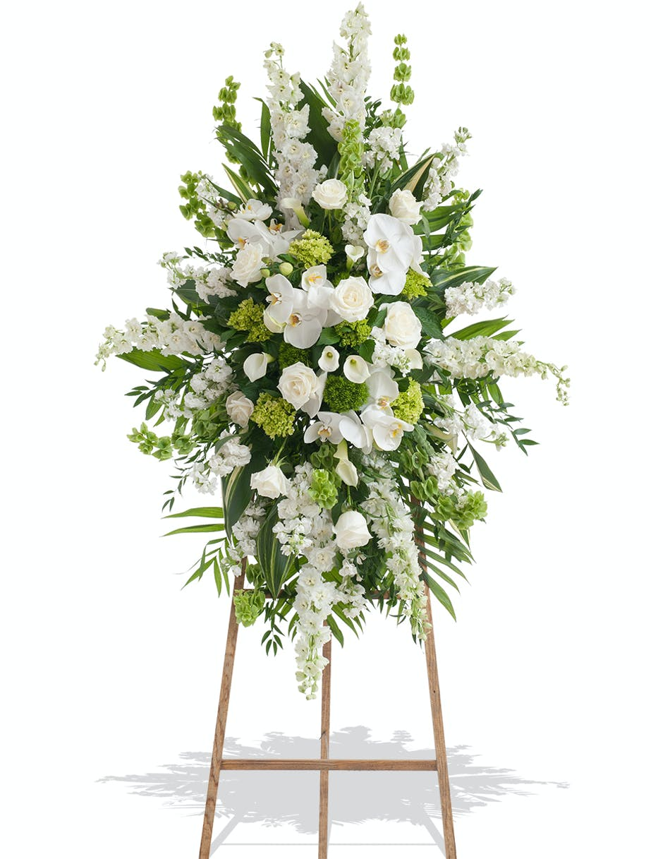Elegant white standing spray delivered in baton rouge la billy white and green flowers on traditional standing funeral spray delivered baton rouge la izmirmasajfo Images