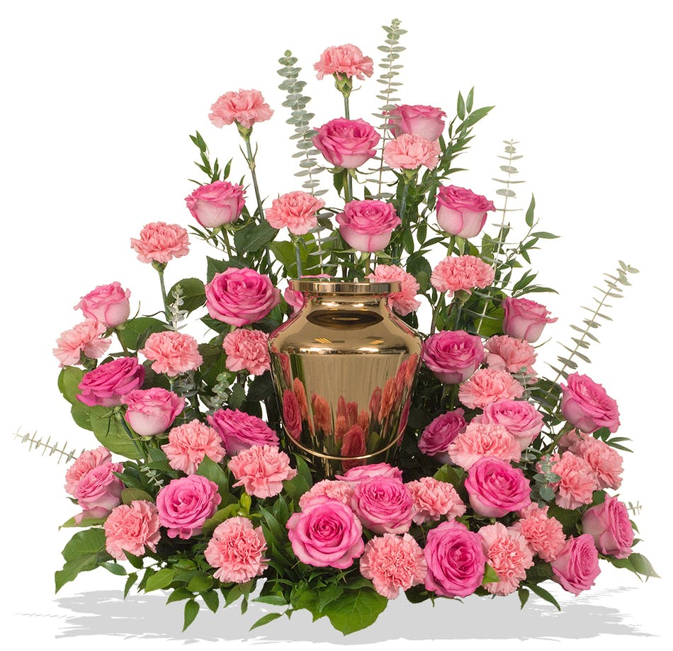 Roses and carnations cremation urn wreath delivered in baton rouge wreath for cremation urn made of roses and carnations colors of your choice delivered baton rouge mightylinksfo