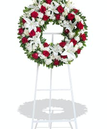 Red and White Tradition wreath stand delivered in Baton Rouge, LA.