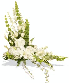 White and Green arrangement to go on sides of cremation urn delivered in baton rouge