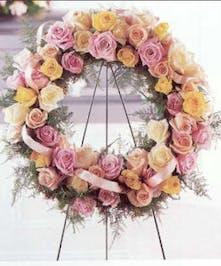 pastel rose standing funeral wreath baton rouge la