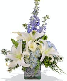 Light Blue Cube arrangement for December birthdays delivered Baton Rouge LA