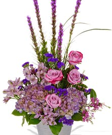 Violet Roses, Hydrangea, Alstroemeria, Liatris and more in a silver container delivered baton rouge LA