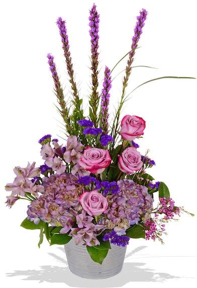 Violet Roses, Hydrangea, Alstroemeria, Liatris and more in a silver container delivered baton rouge LA