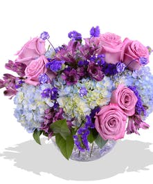 Purple Roses Alstroemeria and Hydrangea February Birthday Bouquet delivered Baton Rouge LA
