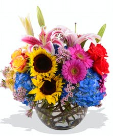 Sunflowers Roses Hydrangea Gerbera Daisies and Lilies in a Bubble Bowl for Mom delivered baton rouge LA