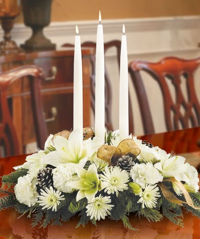 White Centerpiece with christmas greens delivered in Baton Rouge LA