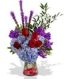 Roses Hydrangea Liatris Stock Floral Festival flower arrangement baton rouge
