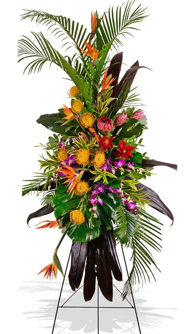 Exotic Grace Tropical Standing Funeral Spray delivered in Baton Rouge LA