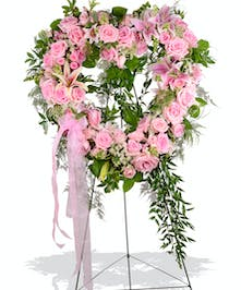 Standing Heart Funeral Spray with Pink Roses, Lilies, Carnations and Greens