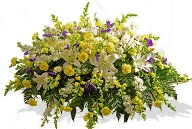 purple yellow casket spray arrangement baton rouge la