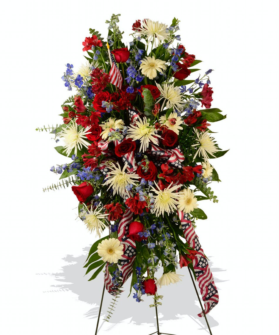 Red white and blue standing funeral spray delivered in baton rouge red white and blue standing funeral spray delivered baton rouge la izmirmasajfo
