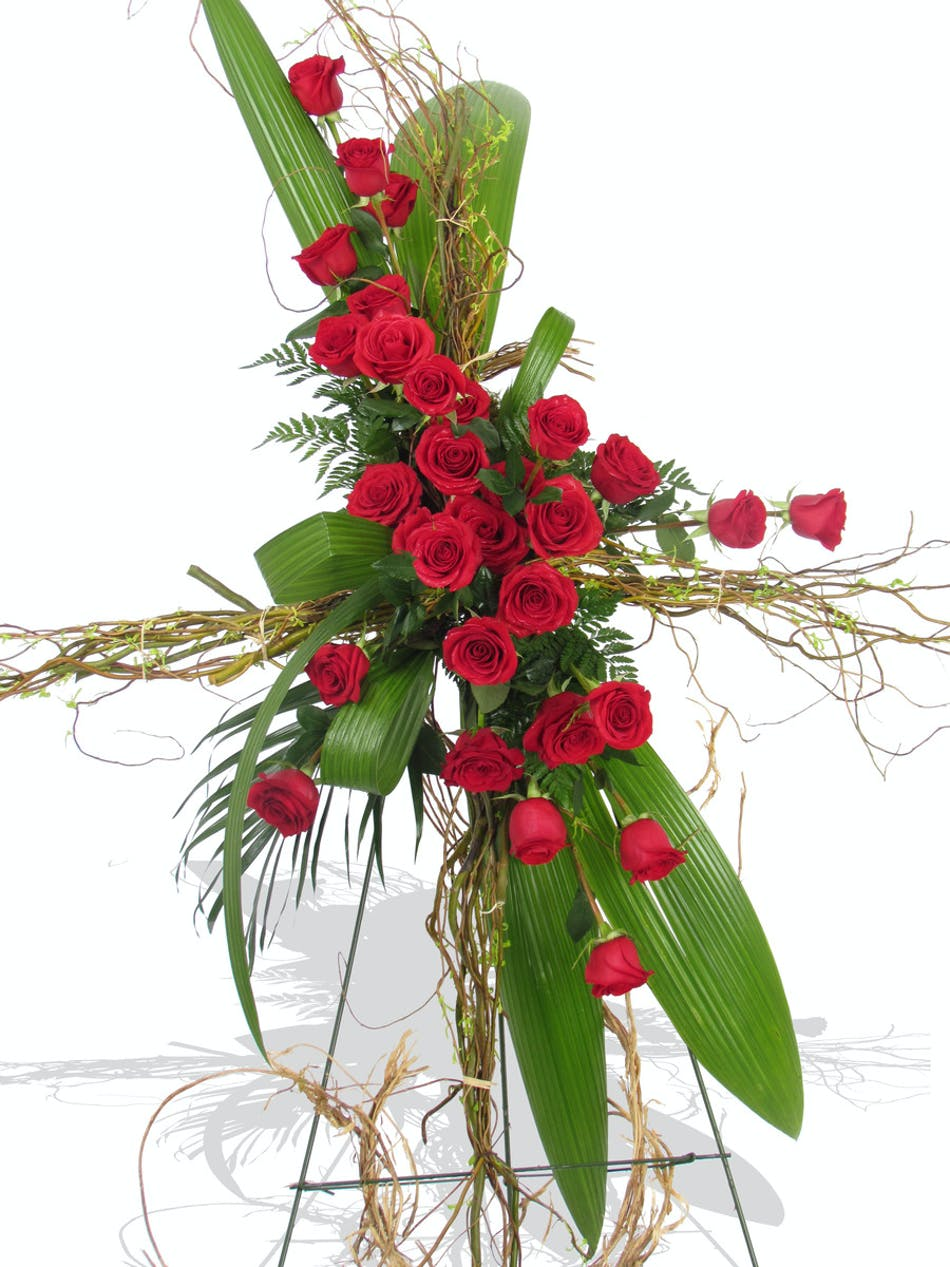 Sympathy funeral flowers baton rouge la billy heromans funeral flowers red rose cross standing spray baton rouge la izmirmasajfo Choice Image